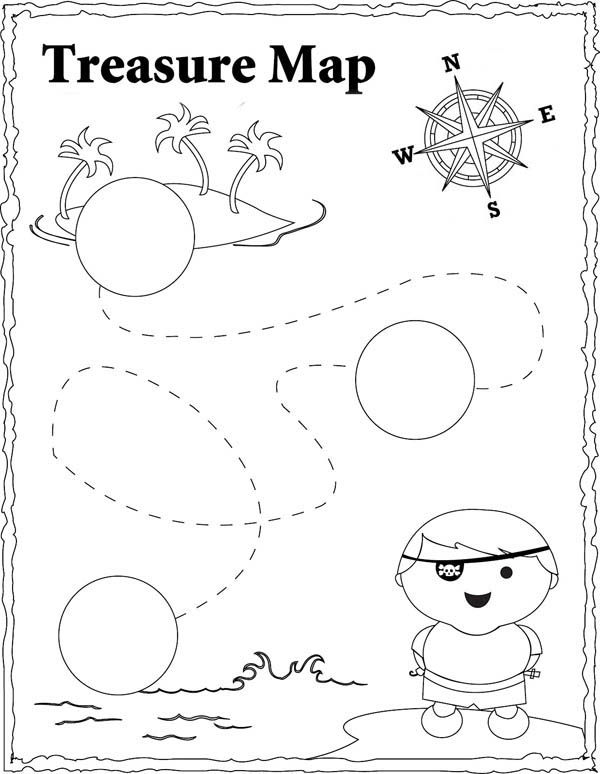 Treasure Map, : Cute Pirate and Treasure Map Coloring Page