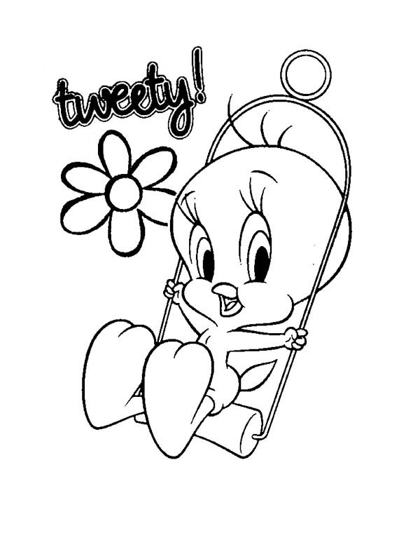 Baby Looney Tunes, : Cute Tweety in Baby Looney Tunes Coloring Page