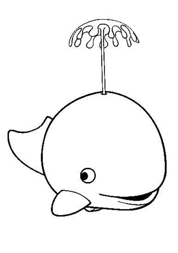 Whale, : Cute Whale Spurting Water Coloring Page