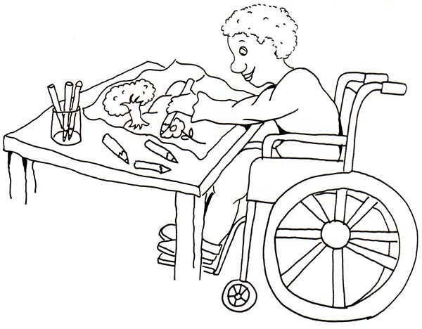 Disability, : Disability Boy Doing Painting Coloring Page