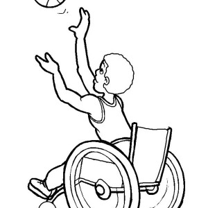 Disability Man On Wheelchair Catch A Ball Coloring Page ...