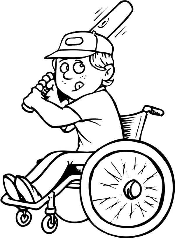 Disability, : Disability Boy on Wheelchair Playing Baseball Coloring Page
