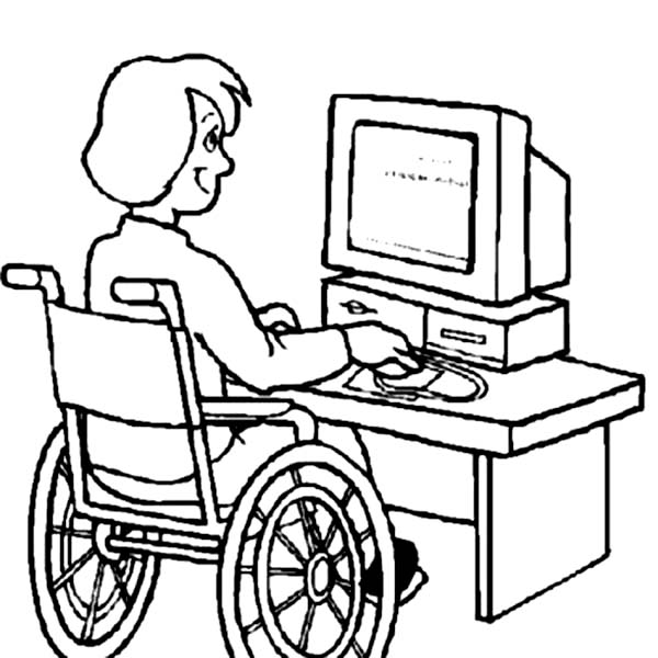 Disability, : Disability Girl on Computer Coloring Page