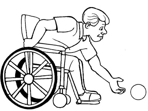 Disability, : Disability Man on Wheelchair Catch a Ball Coloring Page