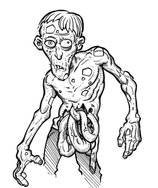 Zombie, : Disgusting Zombie Coloring Page
