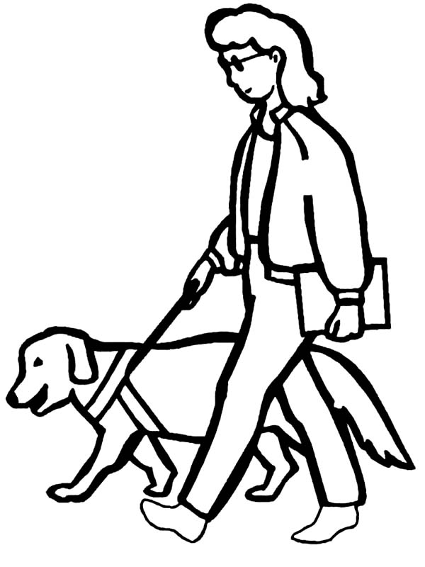 Disability, : Dog Helping People with Disability Coloring Page