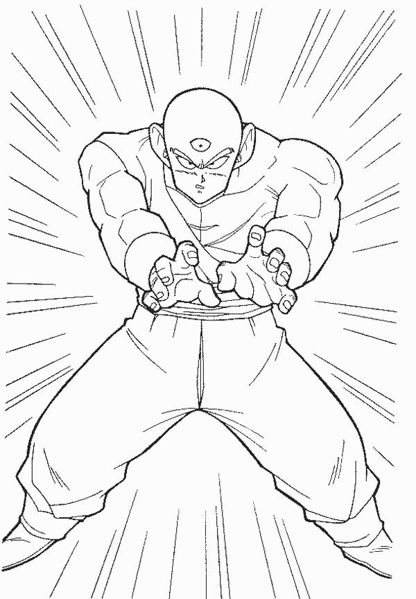 Dragon Ball Z, : Dragon Ball Z Character Tenshinhan Coloring Page