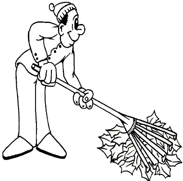 Fall Leaf, : Father Cleaning Fall Leaf on Autumn Coloring Page