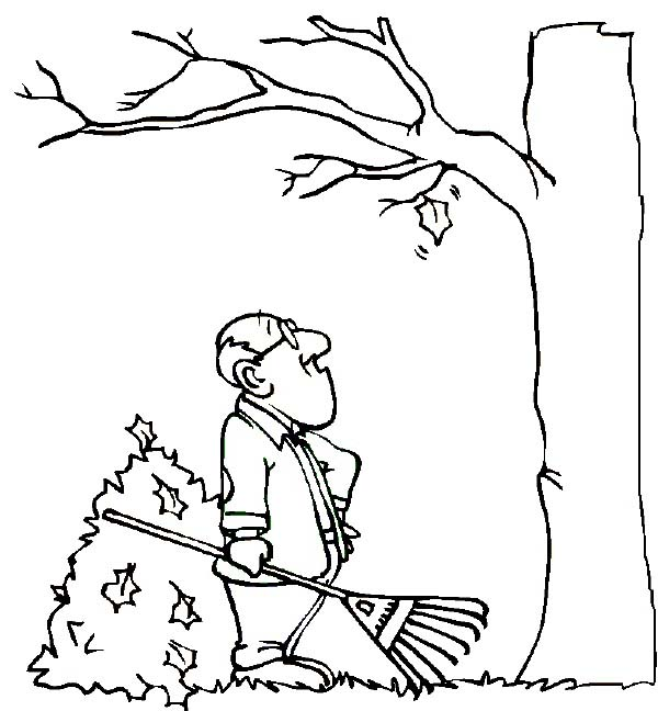 Fall Leaf, : Father Watching Fall Leaf Coloring Page