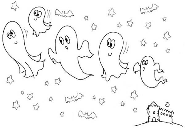 Ghost, : Five Cute Castle Ghost Coloring Page