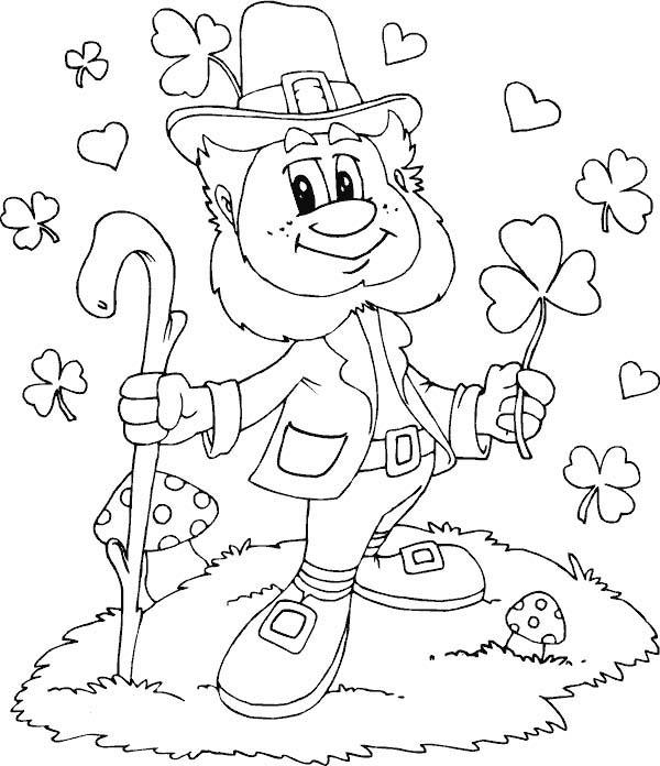Leprechaun, : Friendly Leprechaun with Shamrocks Everywhere Coloring Page