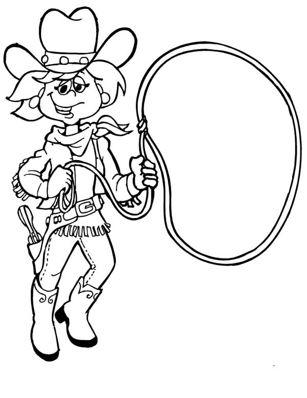 Cowgirl, : Funny Cowgirl with Lasso Coloring Page