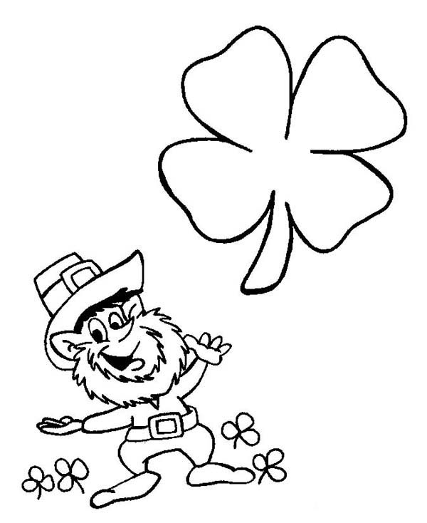 Leprechaun, : Funny Leprechaun Playing with Four-Leaf Clovers Coloring Page