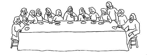 Last Supper, : Gathering in the Last Supper Coloring Page