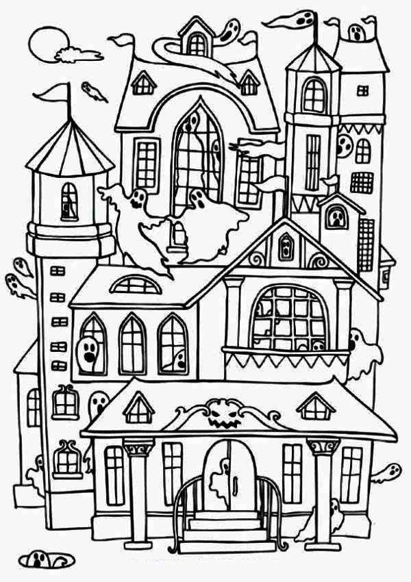 Haunted House, : Ghost Kingdom in Haunted House Coloring Page
