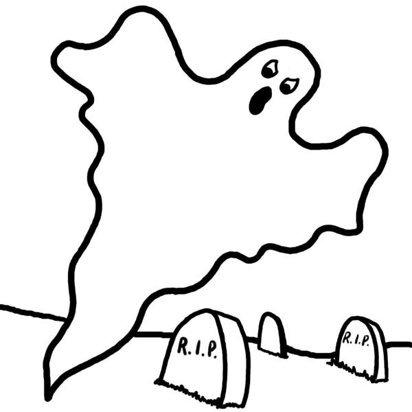 Ghost, : Ghost in Cemetary Coloring Page