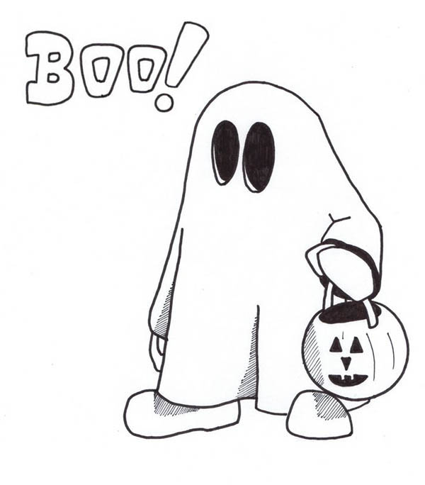 Ghost, : Ghost with Pumpkin Basket Coloring Page