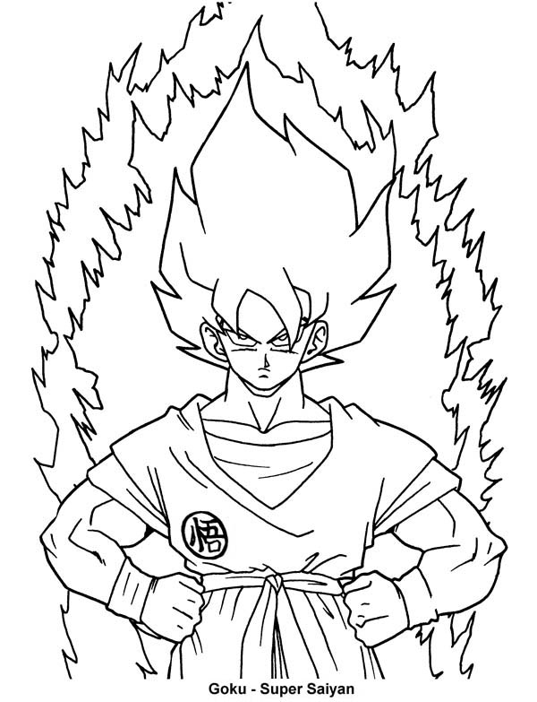 Goku First Super Saiyan Form In Dragon Ball Z Coloring ...