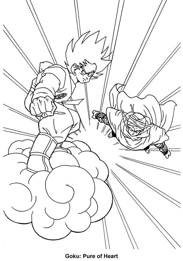 Dragon Ball Z, : Goku Flying with Kintoun and Piccolo in Dragon Ball Z Coloring Page