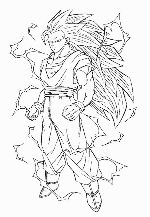Dragon Ball Z, : Goku Super Saiyan 3 Form in Dragon Ball Z Coloring Page