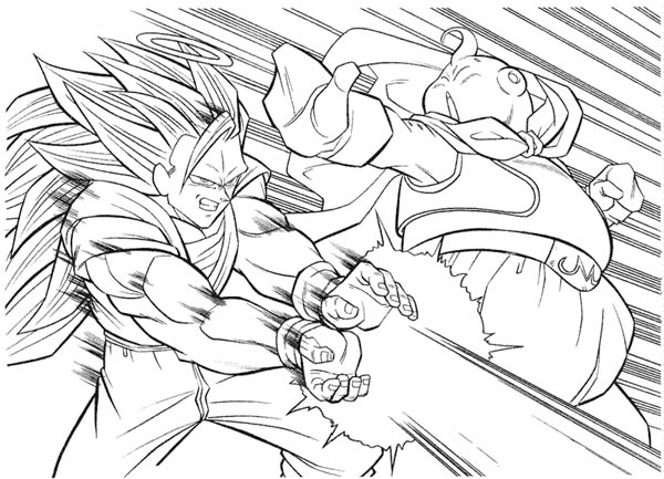 Dragon Ball Z, : Goku Super Saiyan 3 Form vs Bhu in Dragon Ball Z Coloring Page