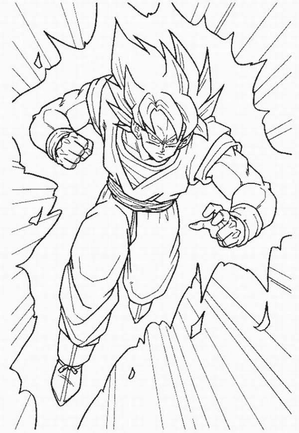 Dragon Ball Z, : Goku Super Saiyan Form in Dragon Ball Z Coloring Page