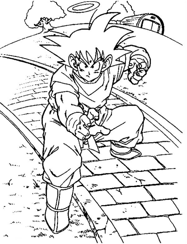 Dragon Ball Z, : Goku Train with Kaio in Dragon Ball Z Coloring Page