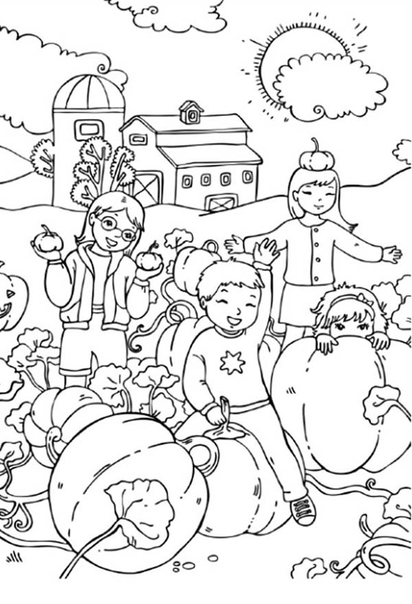 Pumpkins, : Group of Kids Playing with Pumpkins Coloring Page