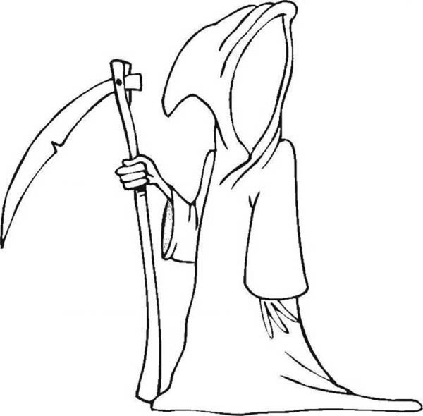Ghost, : Halloween Death Source Ghost Coloring Page