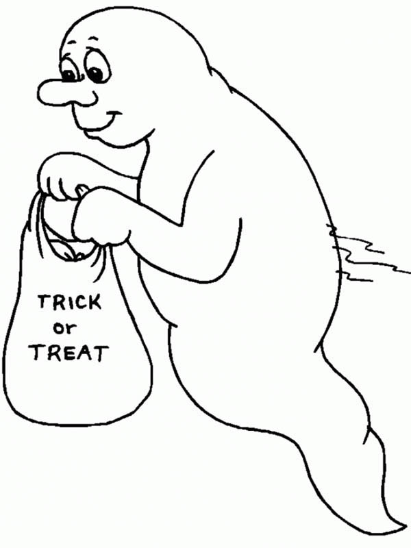 Ghost, : Halloween Ghost Coloring Page