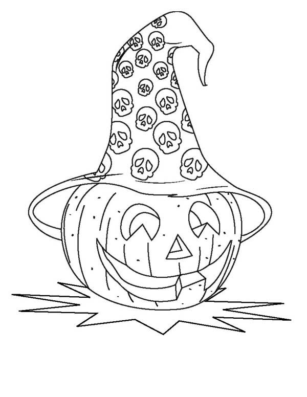 Pumpkins, : Halloween Pumpkins with Skull Hat Coloring Page