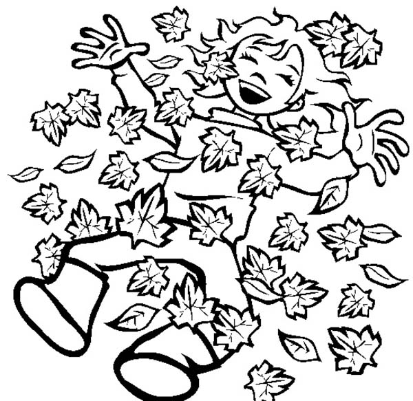 Fall Leaf, : Happy Autumn with Fall Leaf Coloring Page