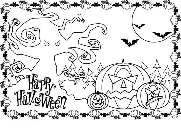 Pumpkins, : Happy Halloween Pumpkins Picture Coloring Page