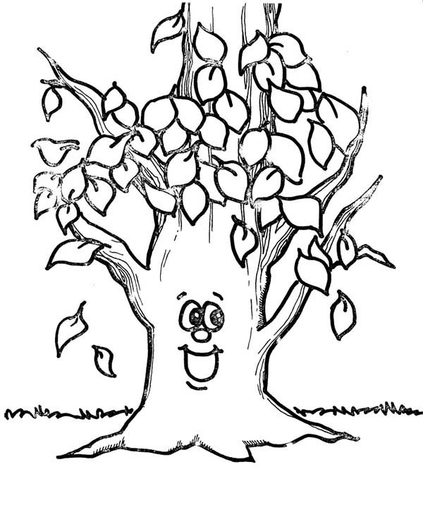 Happy Tree Fall Leaf Coloring Page Kids Play Color
