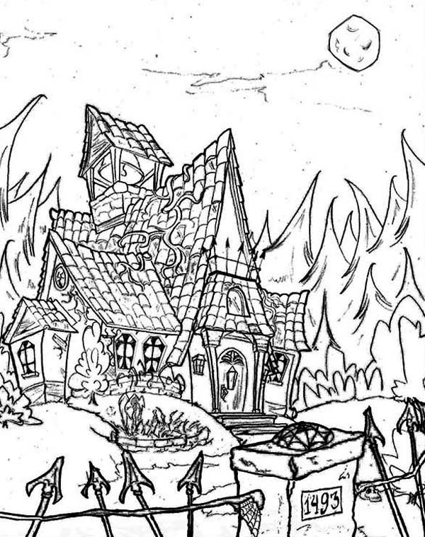 Haunted House, : Haunted House in the Middle of Jungle Coloring Page