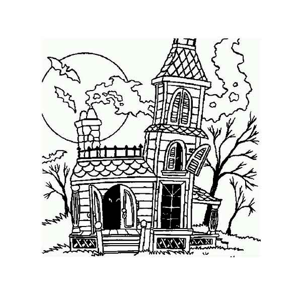 Haunted House, : Haunted House with Chimney Coloring Page