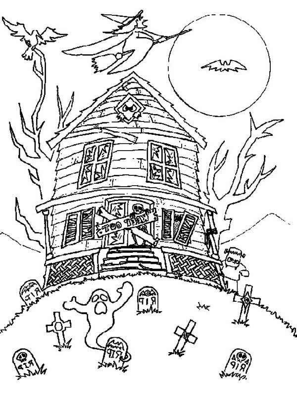 Haunted House, : Haunted House with Witch and Bad Spirit Coloring Page