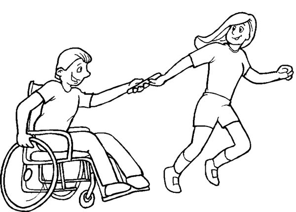 Disability, : Helping Boy with Disability on Wheelchair Coloring Page