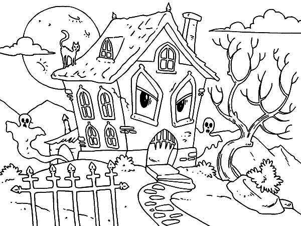 Haunted House, : Hideous Monster House with Ghost and Cat in Haunted House Coloring Page