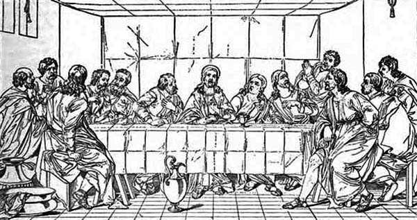Last Supper, : Holy Communion in the Last Supper Coloring Page