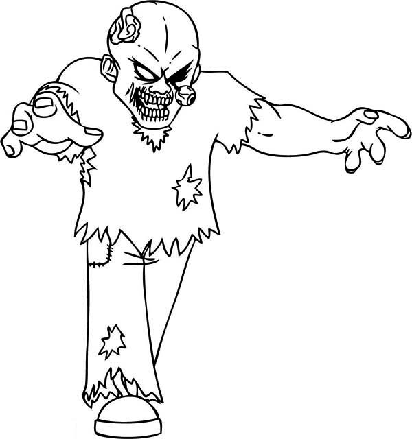 Zombie, : Horrible Bald Zombie Coloring Page