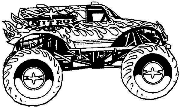 Monster Truck, : Hot Wheel Monster Truck Coloring Page