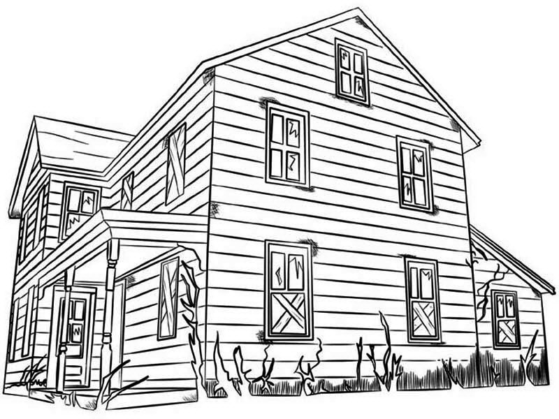 Haunted House, : House of Terrible Ghost in Haunted House Coloring Page