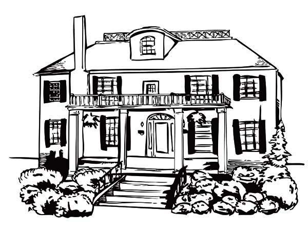Haunted House, : House of the Damned in Haunted House Coloring Page
