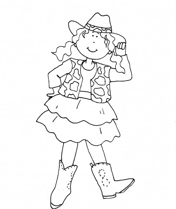 Cowgirl, : Howdy Cowgirl Coloring Page