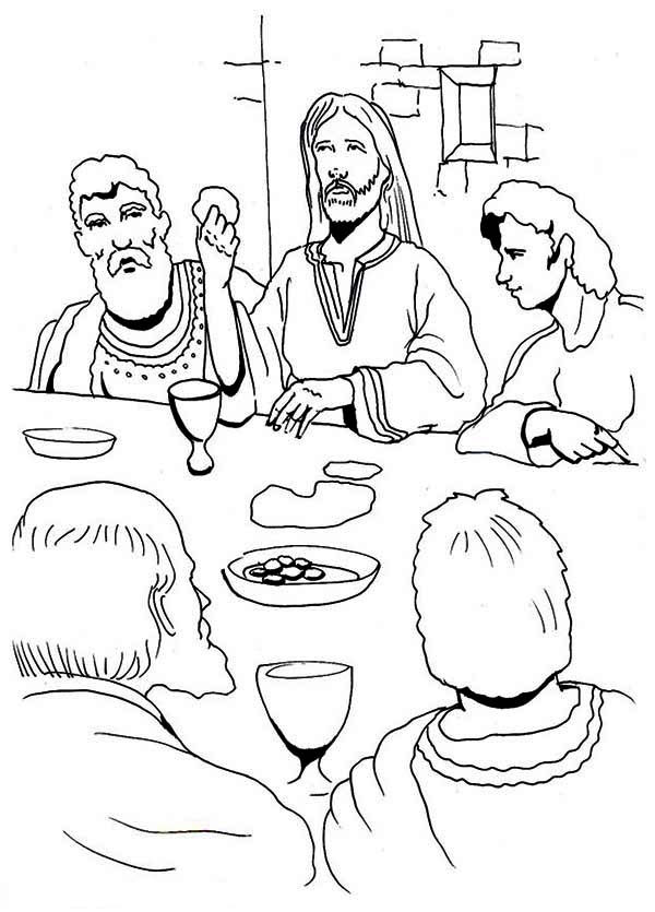 Coloring pages of last supper or apostles ~ Jesus Eating In The Last Supper Coloring Page : Kids Play ...