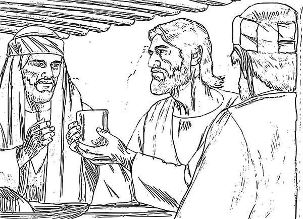 Last Supper, : Jesus Hold His Drink in the Last Supper Coloring Page