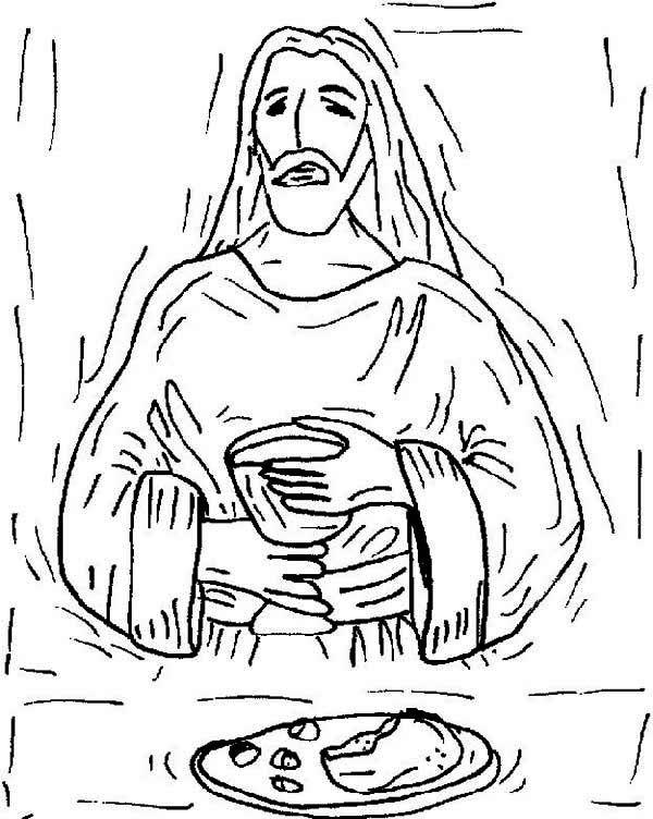 Last Supper, : Jesus Shaking in the Last Supper Coloring Page