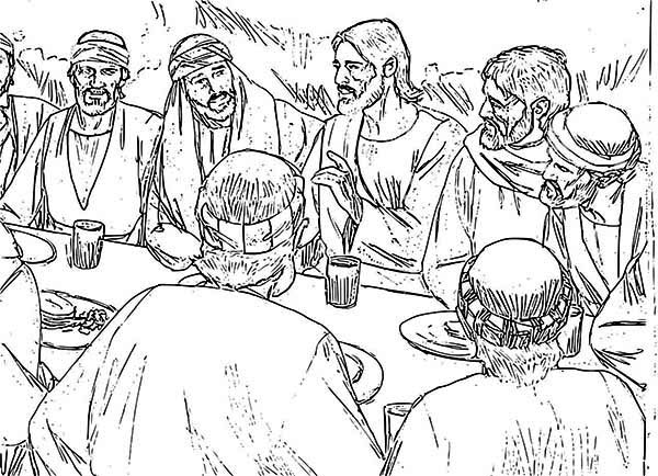 Last Supper, : Jesus and Apostles in the Last Supper Coloring Page