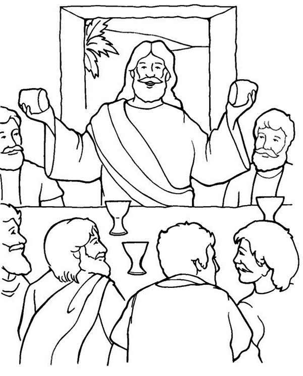 Last Supper, : Jesus in the Last Supper Coloring Page